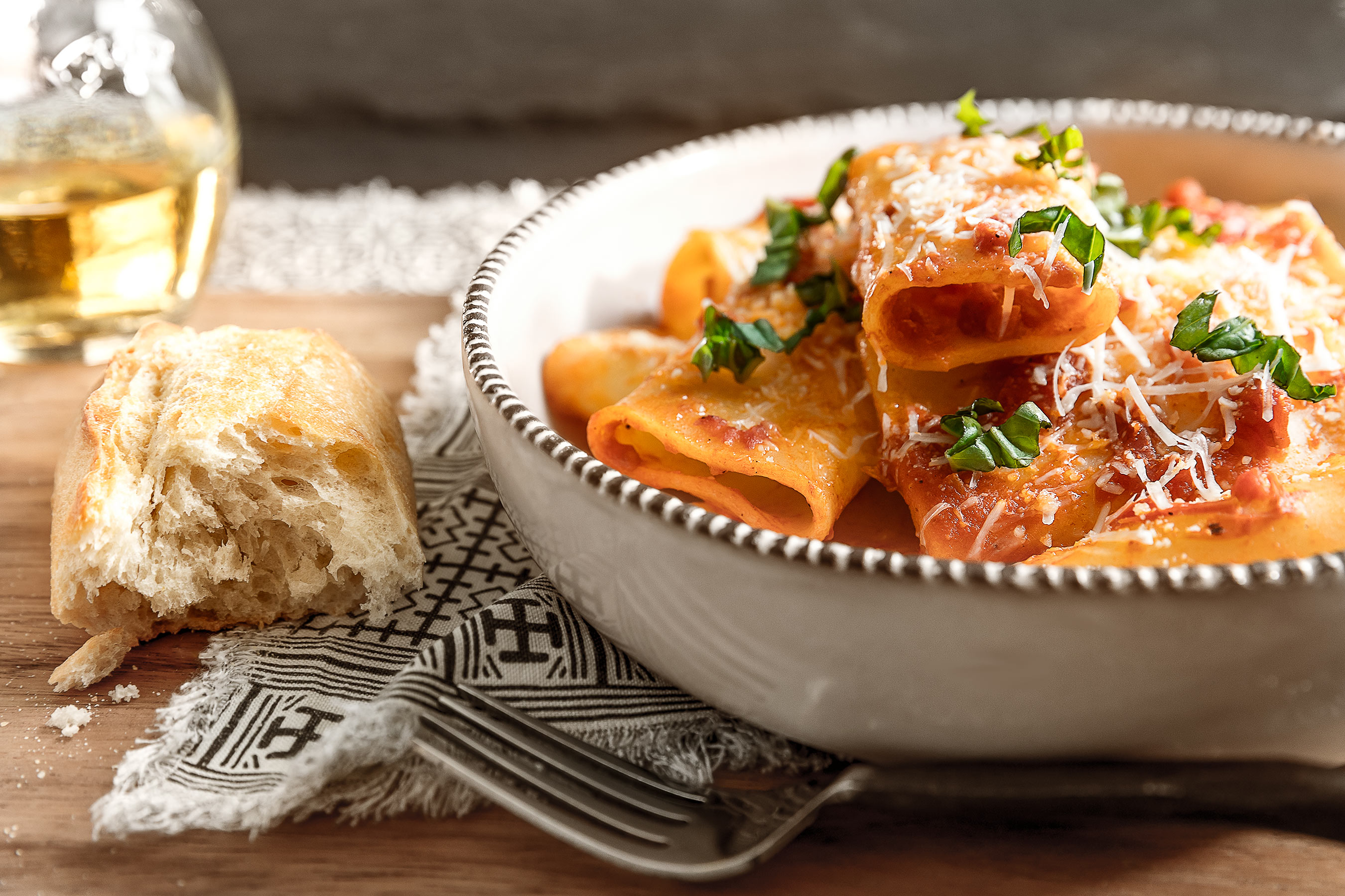 Rigatoni with rustic italian bread, olive oil, parmesan and basil