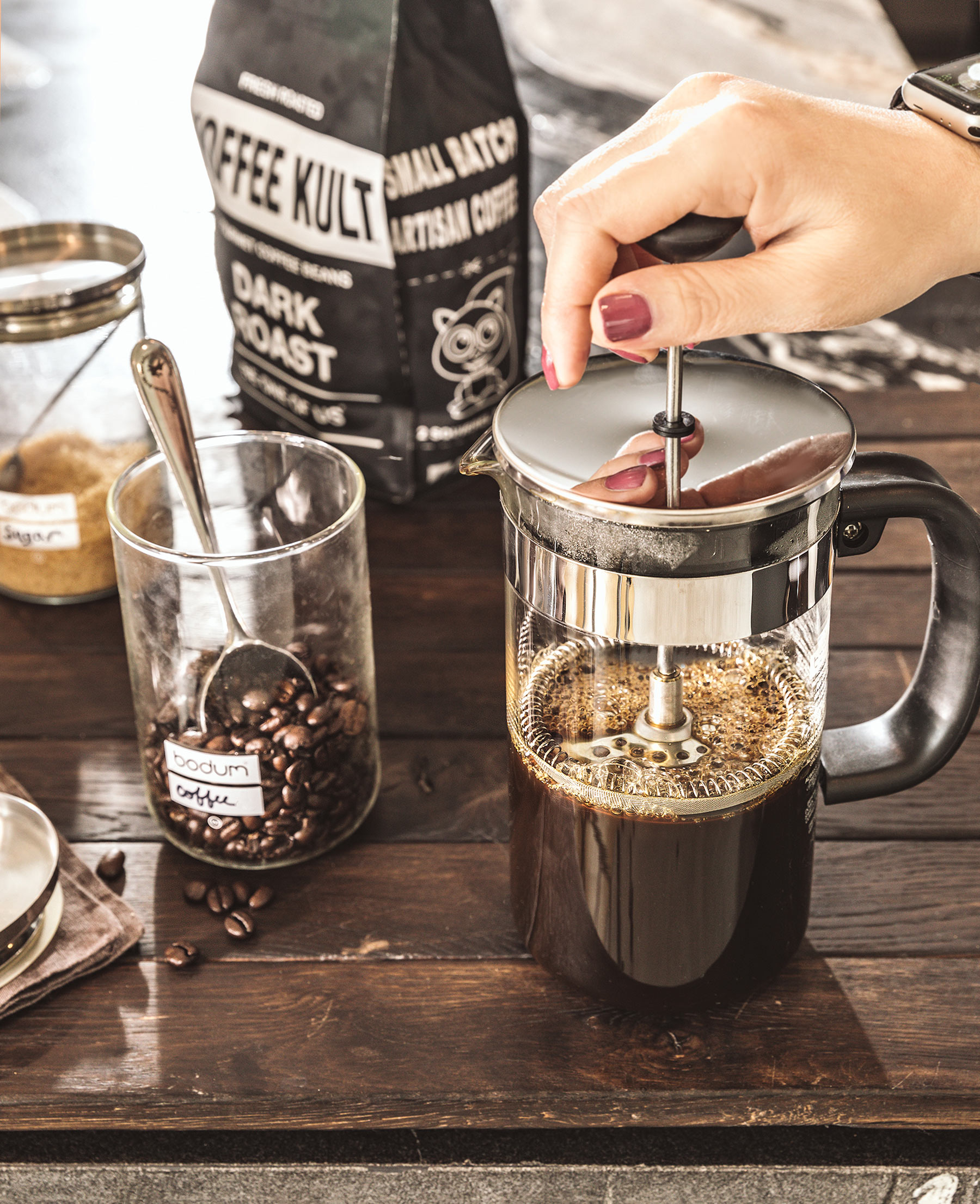Bodum Coffee press with Kofee Kult beans and sugar in the raw